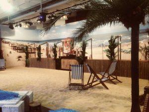 blank canvas venue beach scene image on canvas backdrop