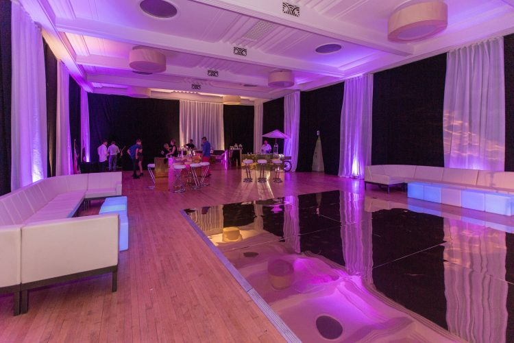 blank canvas venue floors draping a whole room