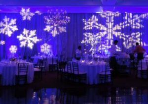 blank canvas venue wall space snowflake gobos on draped wall